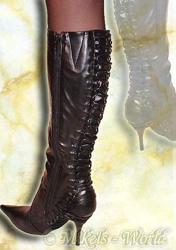 high heels riemen stiefel dana im leder look schwarz ebay. Black Bedroom Furniture Sets. Home Design Ideas