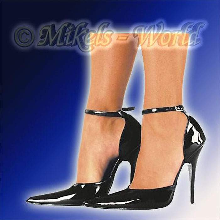 high heels glanz lack riemen pumps lady schwarz ebay. Black Bedroom Furniture Sets. Home Design Ideas