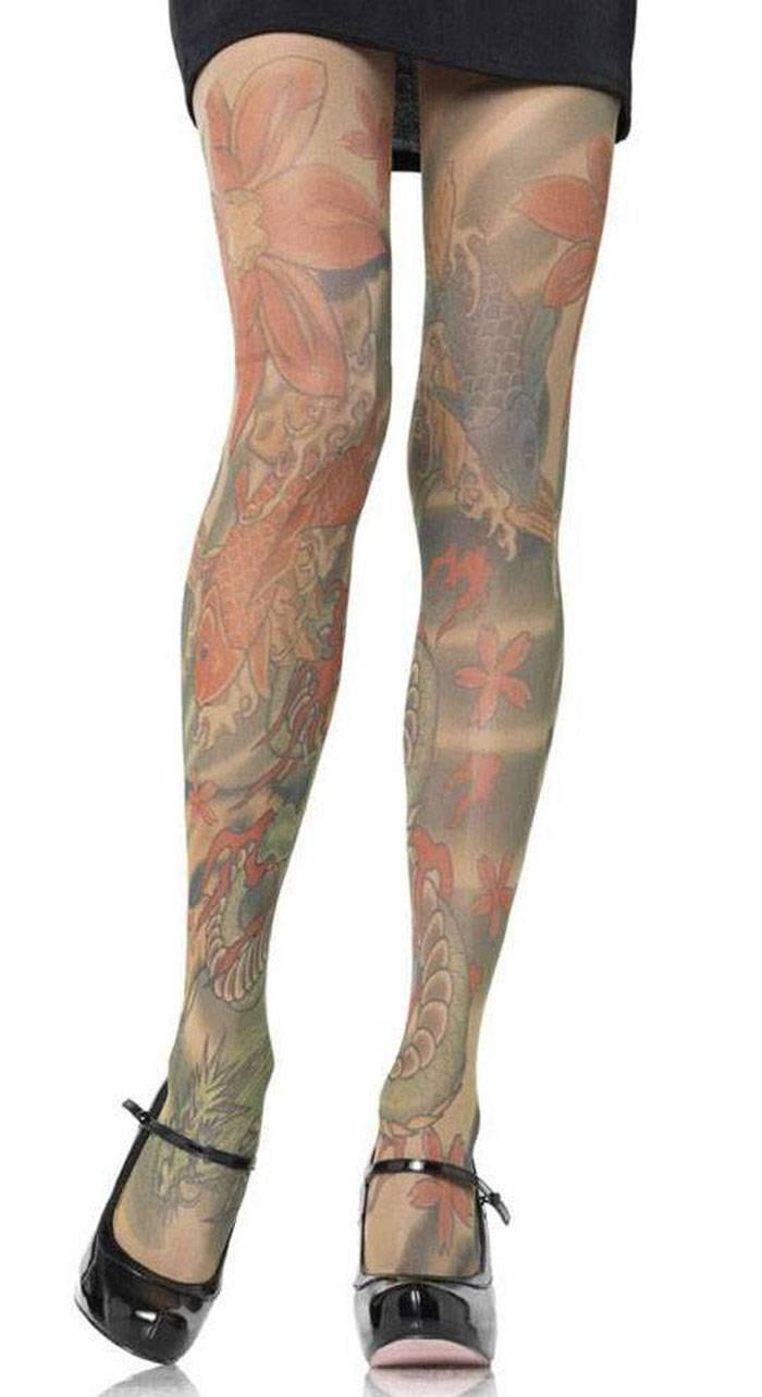 Extravagante koi druck tattoo strumpfhose ebay for Tattoo shops in kenner