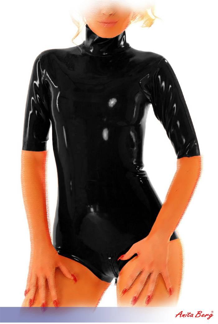 anita berg latex stehkragen kurzarm body mit zip in diversen farben ebay. Black Bedroom Furniture Sets. Home Design Ideas