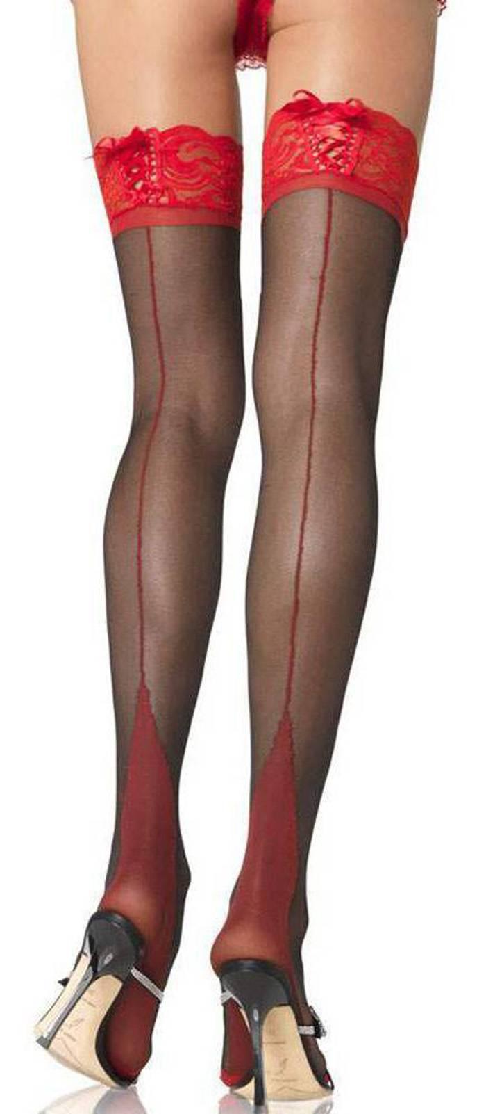 89f2b82f825ce0 Details zu Halterlose Naht Strümpfe mit Cuban Heel Ferse